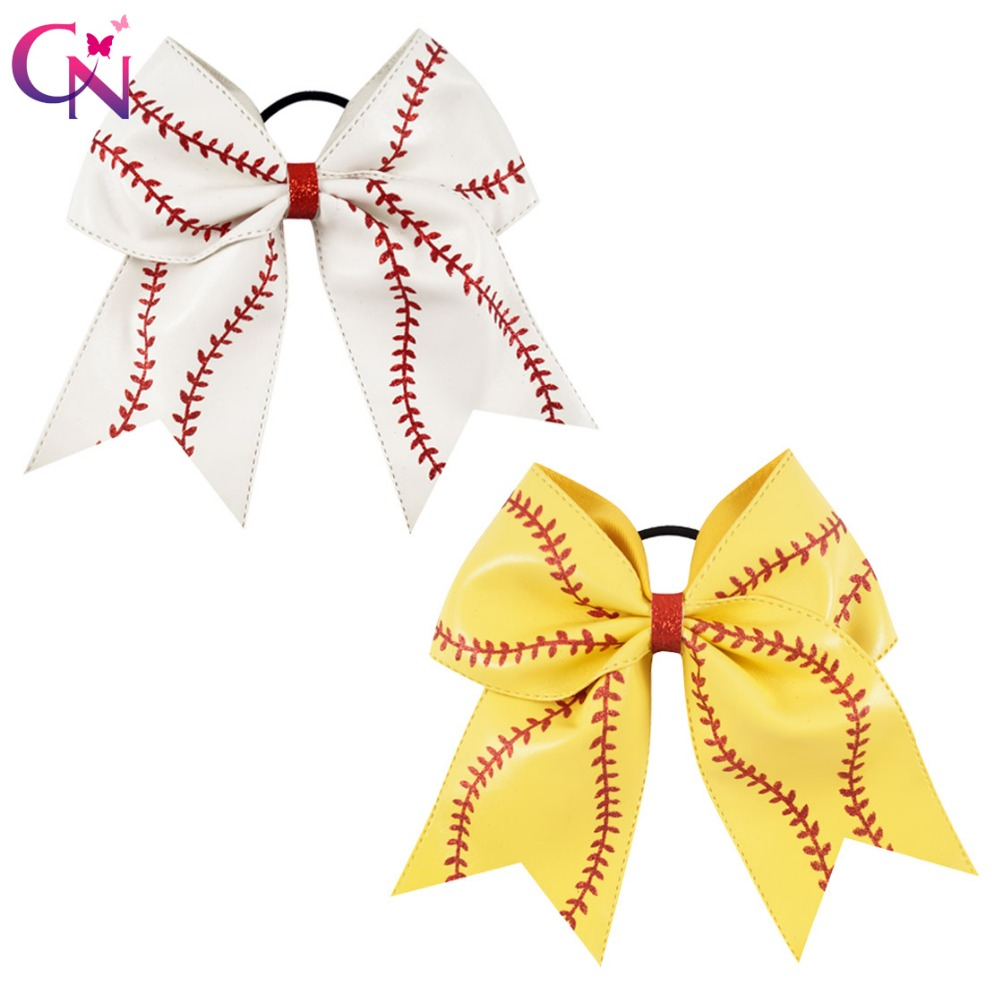 "7"" Baseball Leather Cheer Bow With Rubber Band For Girls Kids Handmade Softball Glitter Cheerleading Bow Hair Accessories 10 Pcscheer bowshair tiesbow hair tie -"