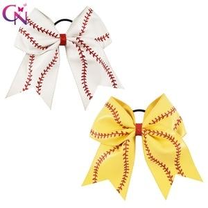 """Image 1 - 7 """"Baseball skórzana Cheer Bow z gumką dla dziewczynek dzieci Handmade Softball brokat cheerleaderek łuk akcesoria do włosów 10 sztuk"""
