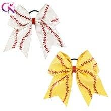 """7 """"In Pelle da Baseball Cheer Bow Con La Gomma Fascia Per Le Ragazze I Bambini Fatti A Mano Softball Glitter Cheerleading Arco Accessori Per Capelli 10 pcs"""