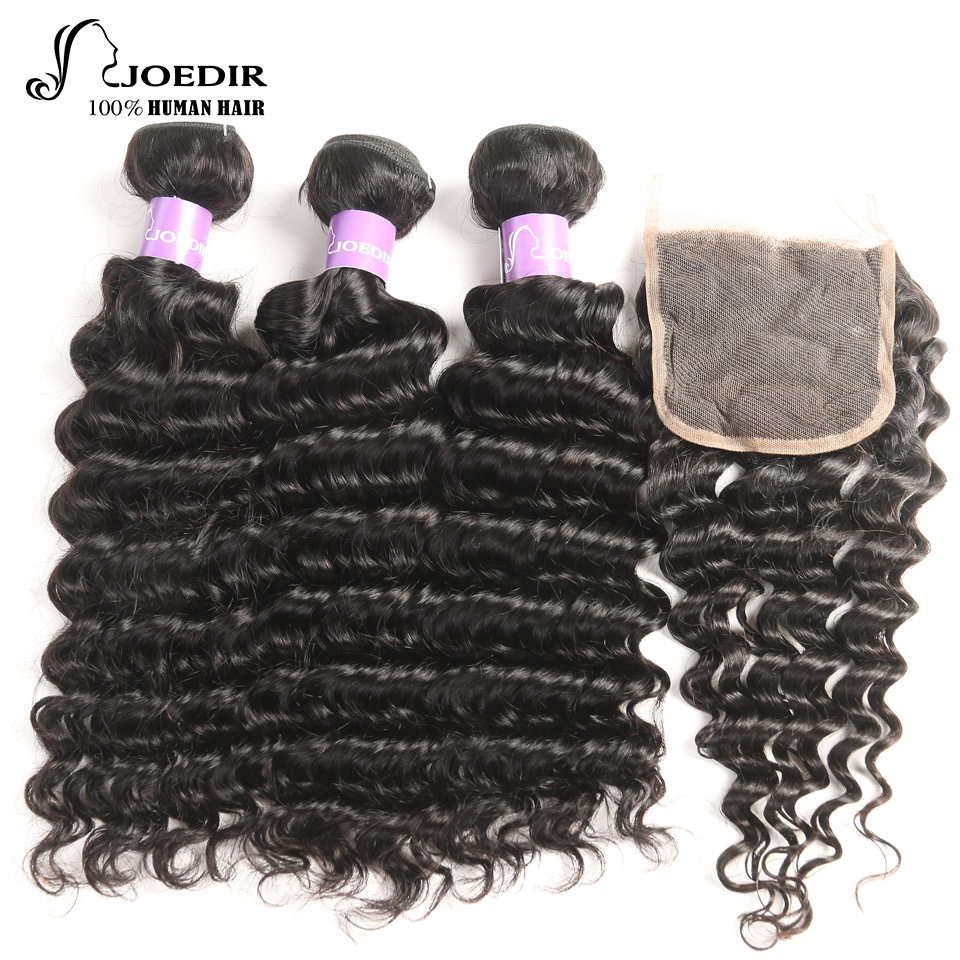 Joedir Indian Deep Wave Human Hair Bundles with 4 X 4 closure Non-remy 3 Bundles Deal with Lace Closure Free Shipping
