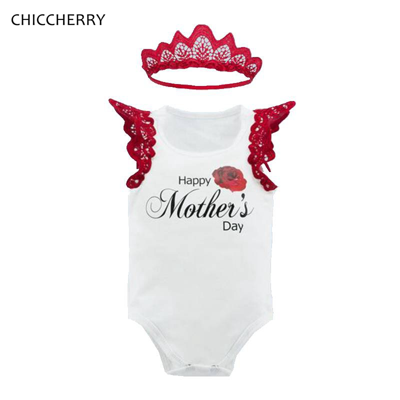 Summer Toddler Girl Clothes Happy Mothers Day Print Baby Bodysuit + Lace Headband Set Body Para Bebe Cotton Infant Jumpsuit
