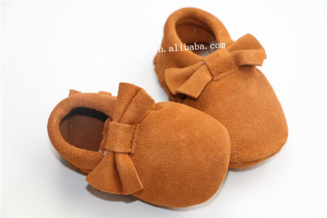 2016 New Suede Genuine Leather Newborn Baby Boy Girl Baby Moccasins bow Shoes Bebe Fringe Soft Soled Non-slip Footwear  Shoe