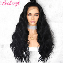 Lvcheryl Synthetic Lace Front Wig Natural Wave Platinum Grey 13x6 Lace Front Wig Futura Hair Lace Wigs(China)