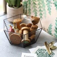 Luxurious Rose Gold Hexagon Metal Basket Nordic Simple Living Room Fruit Bread Sundries Organizer Decoration Storage Baskets