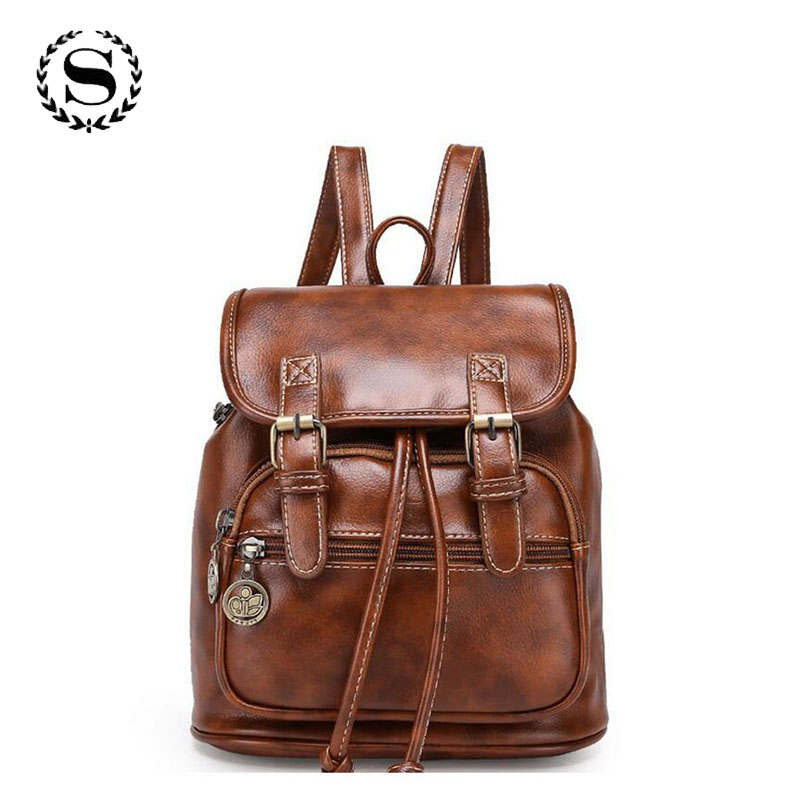 Brand Women Pu Leather Backpack Feminina Vintage Casual Drawstring School Travel Shoulder Bags For Teenager Bolsas Mochila 388t brand vintage women bagpack beetle shape cool split leather backpack teenager school bag knapsack cowhide mochila feminina