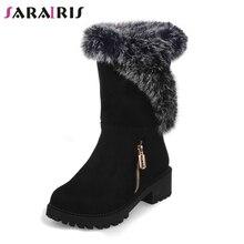 SARAIRIS/Новинка,, обувь на квадратном каблуке, на молнии, размера плюс 30-52 Женские повседневные зимние черные Нескользящие зимние сапоги до середины икры на платформе