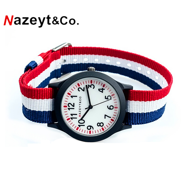Nazeyt 2018 Promotion Middle Student Colored Nylon Outdoor Sports Army Watch Boys Children Simple Dial Gift Clock Reloj De Cuarz