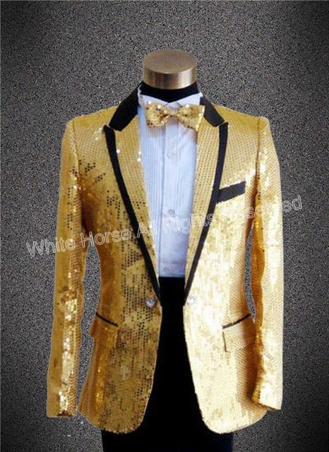 2018 gold blazer for men sequin tuxedo gold jakcet  men stage costumes slim fit party suits men sequin blazer