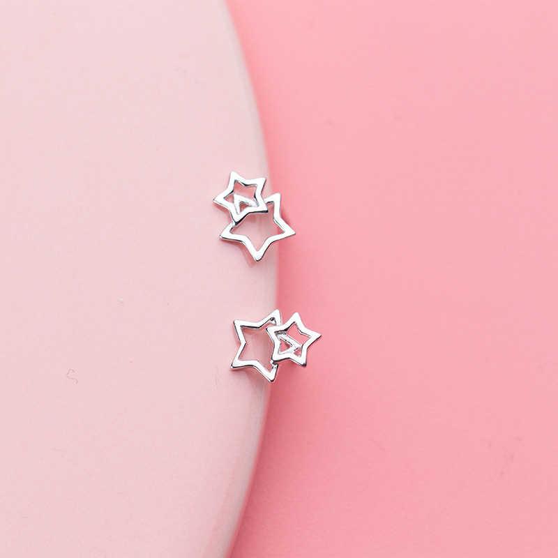 Inzatt Nyata 925 Sterling Silver Hollow Star Minimalis Stud Anting-Anting untuk Wanita Perhiasan 2019 Geometris Aksesoris