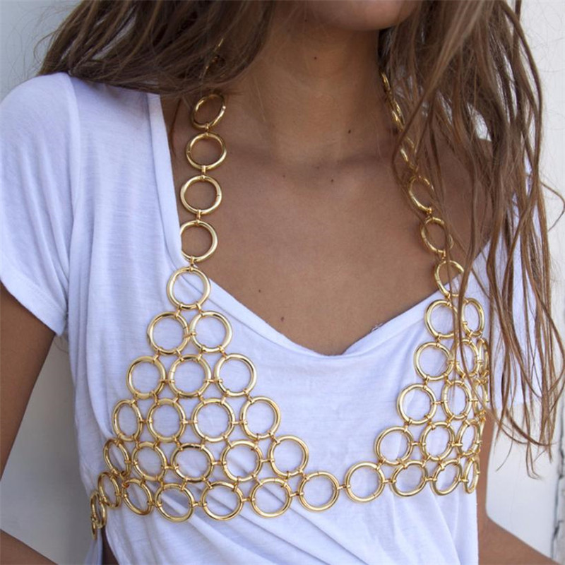 2018 Sexy Women Metal Chest Chain Camis Tank Crop Top Womens Hollow Rims Sequins Luxury Nightclub Party Halter Tops wholesale
