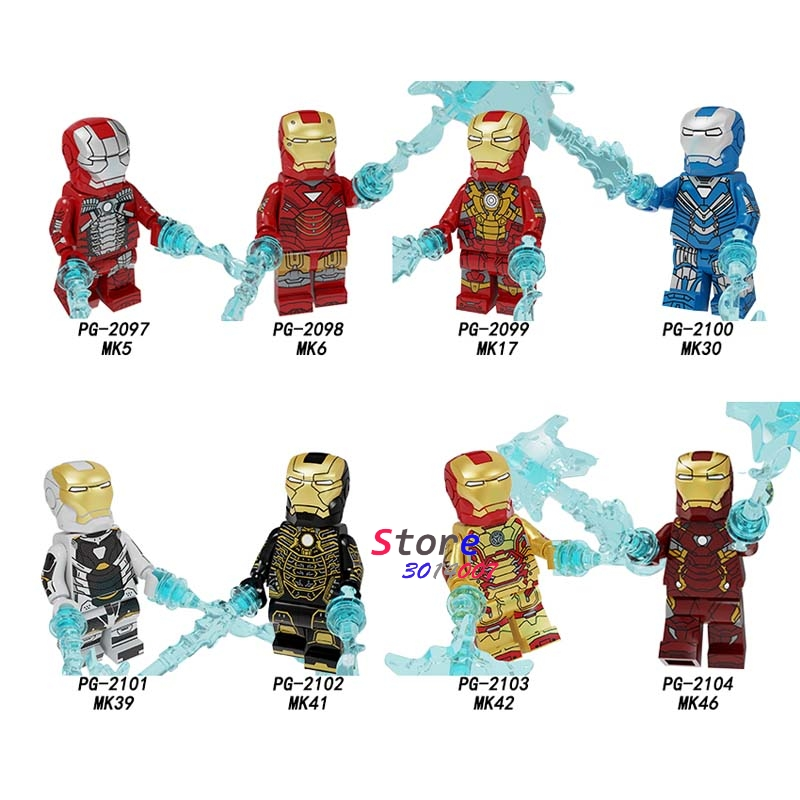 50pcs Avengers Endgame IronMan Iron Man War Machine MK5 MK6 MK17 MK30 MK39 KM41 MK42 MK46 Figure building block for children toy(China)