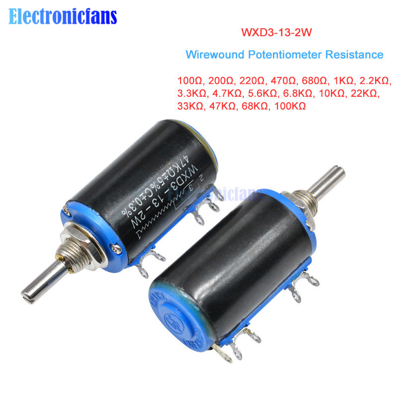 WXD3-13-2W potenciómetro bobinado 100R 470R 1K 4,7 K 6,8 K 10K 22K 47K 100KΩ Ohm 10 rotativo Linear potenciómetro WXD3-13 2W