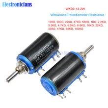 WXD3-13-2W Wirewound Potentiometer 100R 470R 1K 4.7K 6.8K 10K 22K 47K 100KΩ Ohm 10 Turns Linear Rotary Potentiometer WXD3-13 2W
