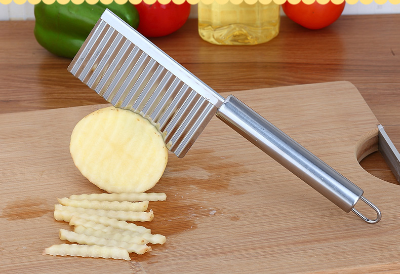 1pcs Stainless Steel Crinkle Wavy Potato font b Knife b font Chip Food Cutter Blade Slicer