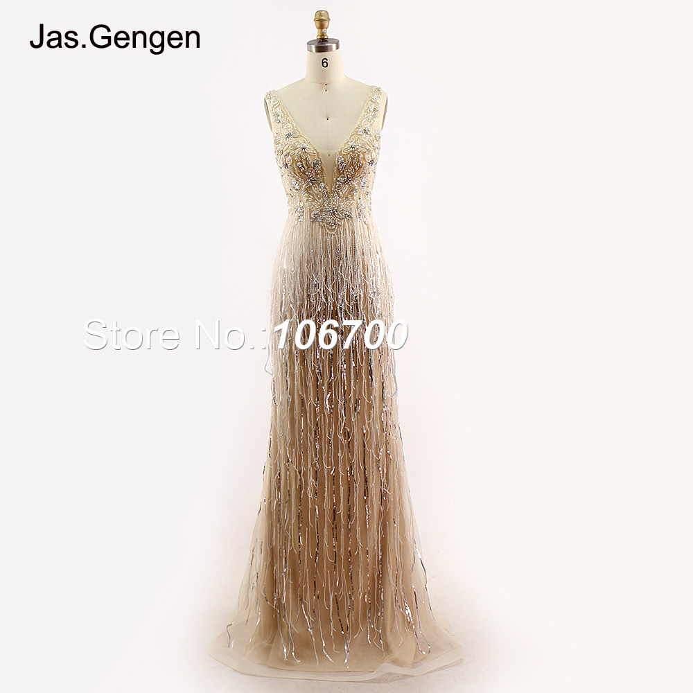 New Heavy Crystal Stone Beaded Evening Dress V Neck Beading Tassel Prom Gown Long Gowns For Women Plus Size Available  2018 1162(China)
