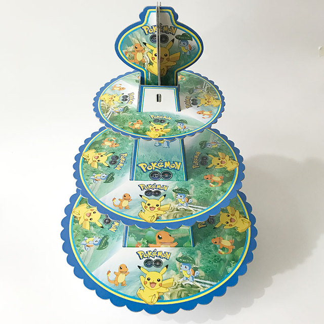 Pokemon Pikachu 3 Tier Cake Stand Baby Shower Supplies Kids Birthday