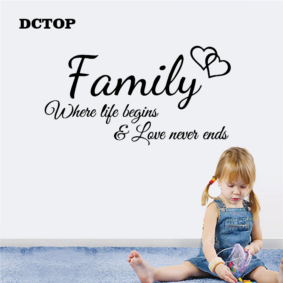 Family love never ends Inspirational Positive quotes Sayings Wall Stickers Vinyl Art Decals Home Decorative Living Room Bedroom