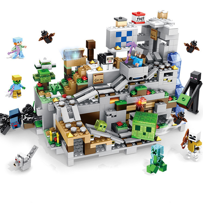 1000pcs เด็กอาคารบล็อกของเล่นเข้ากันได้กับ Legoingly city minecrafted Institutional cave ตัวเลขอิฐวันเกิดของขวัญ-ใน บล็อก จาก ของเล่นและงานอดิเรก บน   1