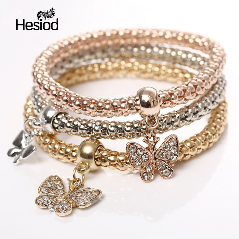 Hesiod Gold Silver Color 3Pcs Charm Bracelets For Women Butterfly Heart Music Note Anchor Pendant Bracelet Multilayer