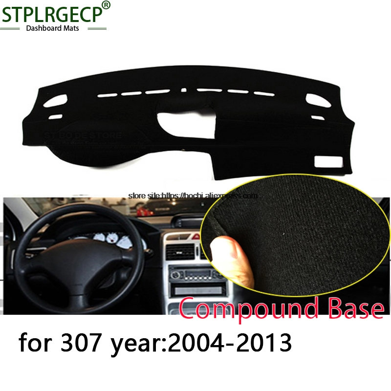 STPLRGECP double layer Black Dash Mat For Peugeot 307 2004-2013 Dashmat Black Carpet Car Dashboard Automotive interior Mats polaris phm 2010