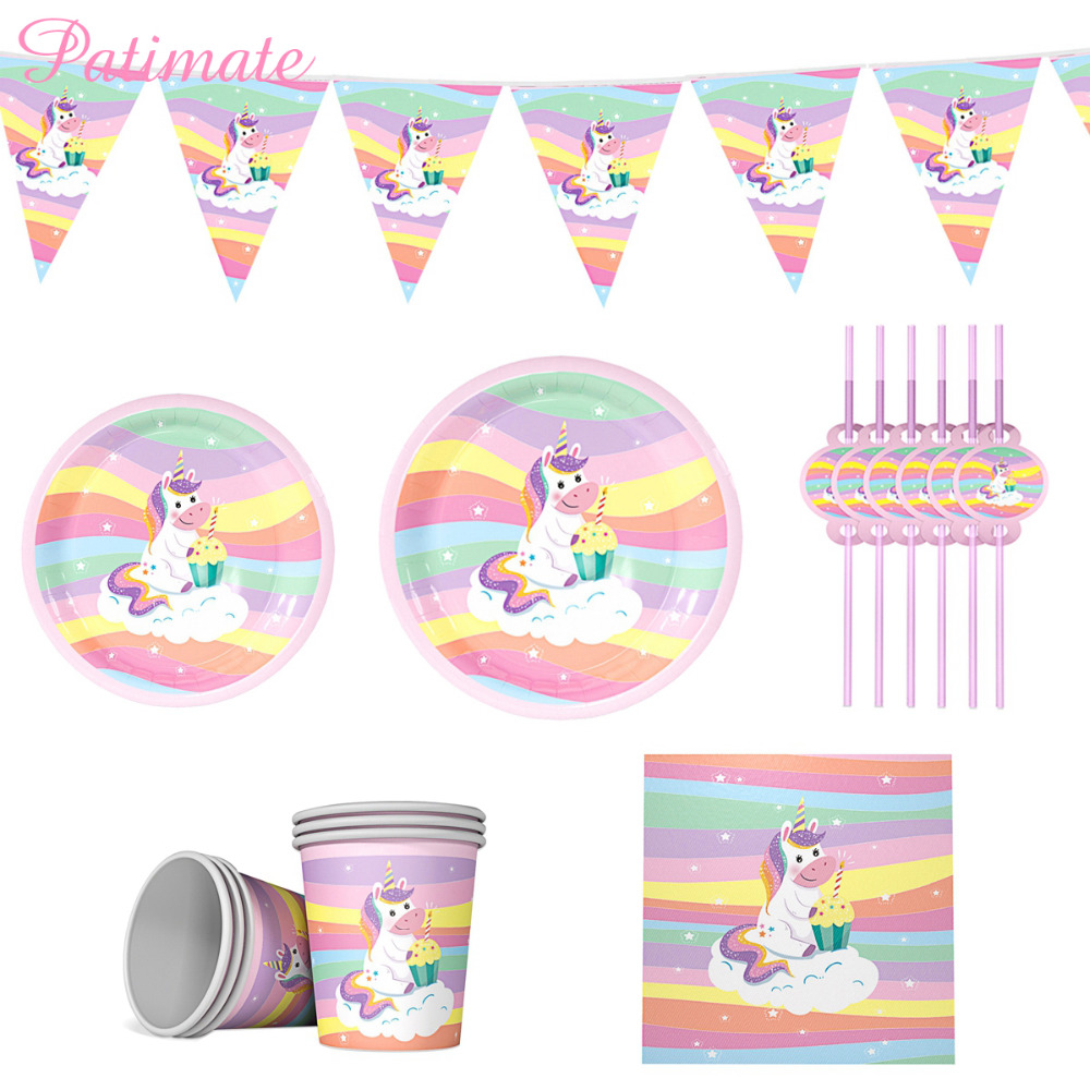 PATIMATE Unicorn Disposable Tableware Plates Cups Paper Straws Decoupage Napkins Birthday Party Theme