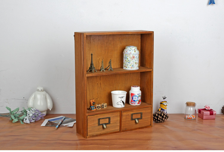 1PC Zakka grocery wooden storage cabinet box retro wooden lockers hanging cabinet Home Furnishing with 2 drawers JL 0945