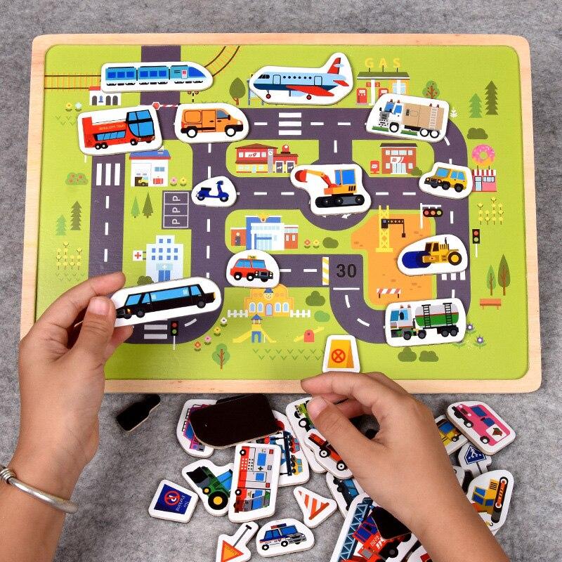30 cm Baby Spielzeug Montessori holz Puzzle/Hand Greifen Bord Set Pädagogisches Holz Spielzeug Cartoon Fahrzeug/Marine Tier puzzle Kind - 4