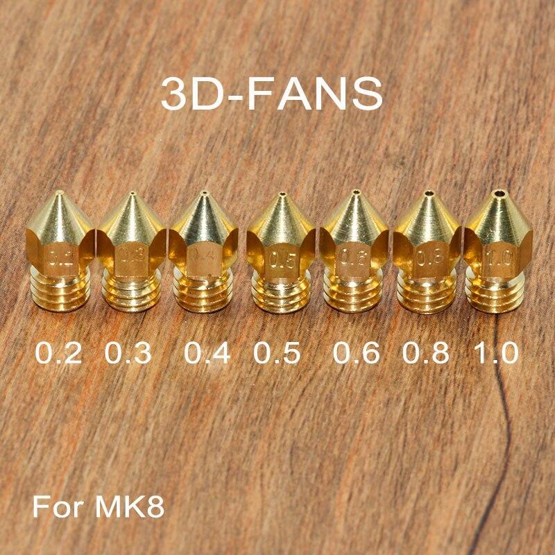 Медная насадка для 3D-принтера, 5 шт., разные размеры: 0,2/0,3/0,4/0,5/0,6/0,8/1,0, печатающая головка для экструдера 1,75 мм/3,0 мм MK8 Makerbot