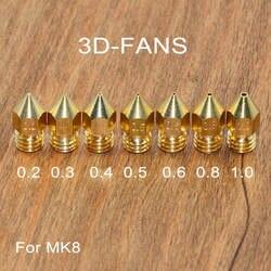 5 шт. 3D-принтеры латунь Медь сопла смешанные размеры 0,2/0,3/0,4/0,5/0,6/0,8/1,0 экструдер печатающей головки для 1,75 мм/3,0 мм MK8 Makerbot