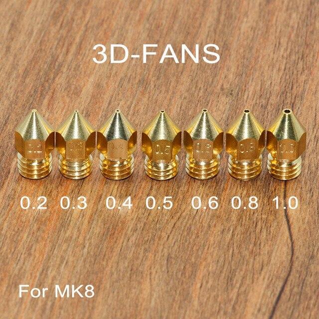 5 cái 3D Máy In Brass Copper Vòi Phun Hỗn Hợp Kích Thước 0.2/0.3/0.4/0.5/0.6/0.8 /1.0 Đầu Đùn In Cho 1.75 mét/3.0 mét MK8 Makerbot