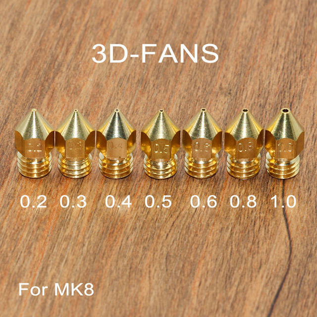 5Pcs 3D Printer Brass Copper Nozzle Mixed Sizes 0.2/0.3/0.4/0.5/0.6/0.8/1.0 Extruder Print Head For 1.75mm / 3.0mm MK8 Makerbot