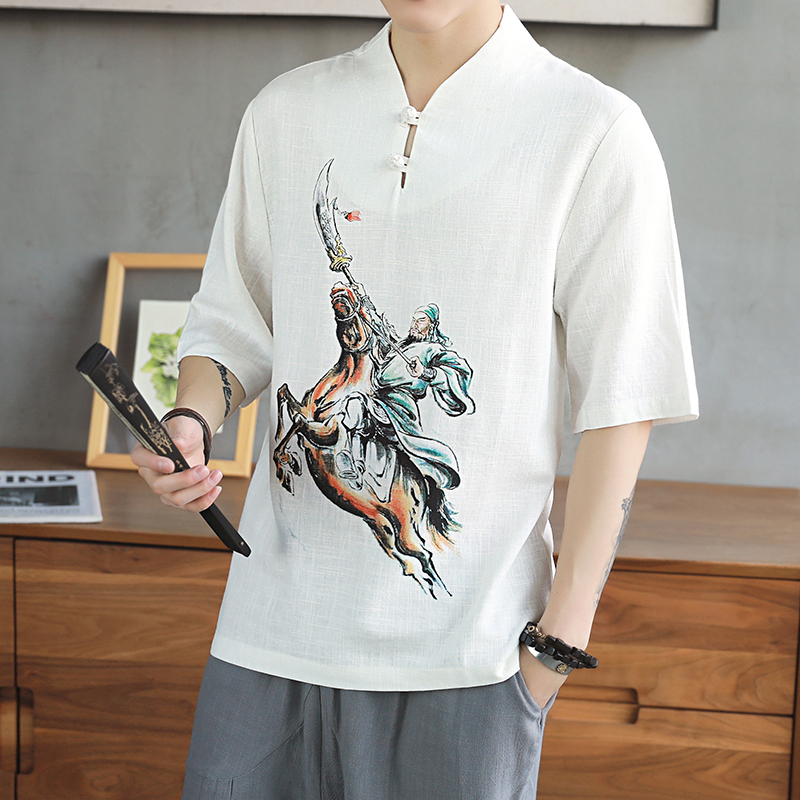 Chinese style cartoon printed linen short sleeve T-shirt male cotton Linen Mens t shirts Solid V Neck breathable casual Tees