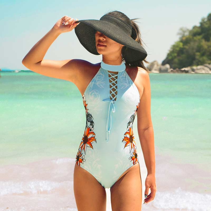 Print Female Swimwear One Piece Women's Swimsuits One-Piece Suits Retro Vintage Beach May Swimsuit Women Bathing Suit Swim Bath tropical print piping one piece swimsuit