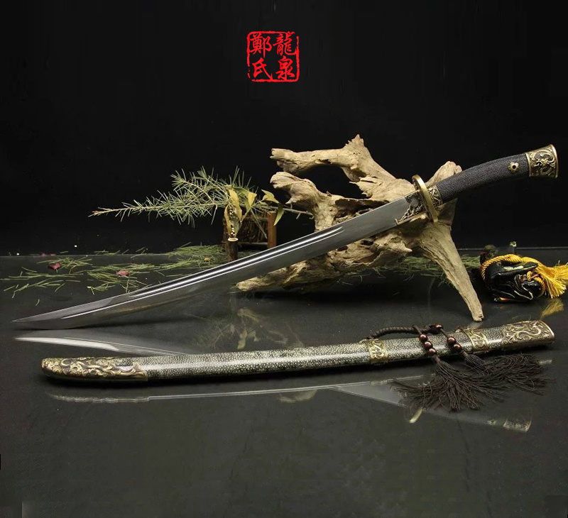 Grade A Chinese Sword Damascus Steel Antique Bronze Qing Dao Real Rayskin Scabbard Handmade Sharp Supply Twin Handed Swords