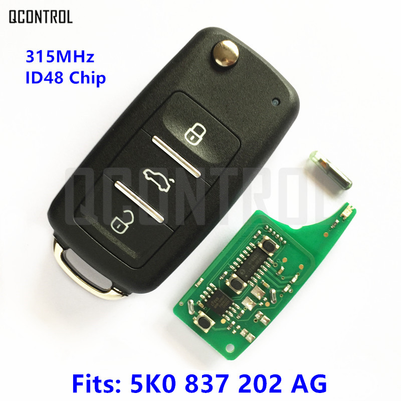 QCONTROL Terno Chave Remoto para VolksWagen/VW 5K0 837 202 AG/5K0837202AG 315 MHz ID48 Chip