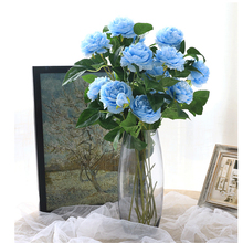 5pc Blue Peony Artificial Flowers for Wedding Home Decor DIY Craft Fake Flowers Living Dining Table Decoration Chinese Flower