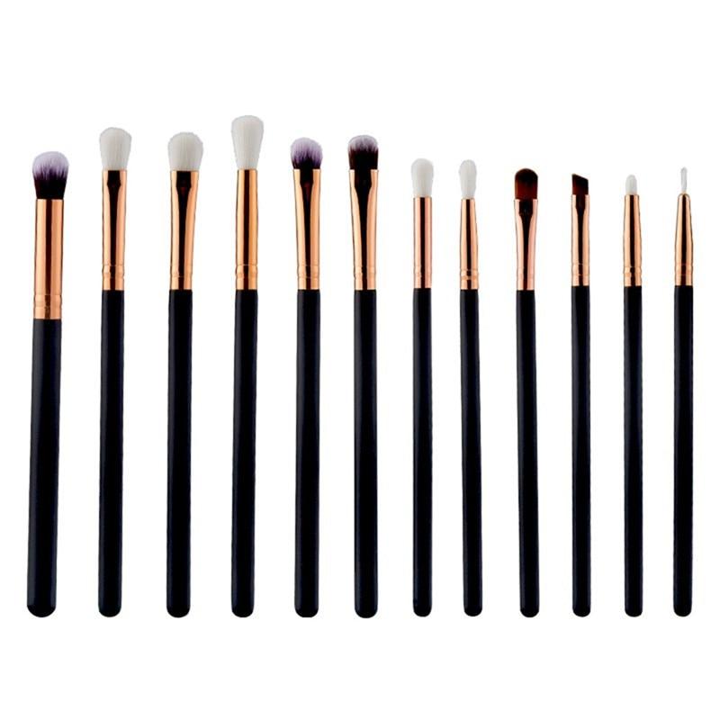 12Pcs Professional Make Up Brush Set High Quality Gold Aluminum Lip Eyeliner Eyebrow Eyeshadow Brush Face Eye Makeup Brushes
