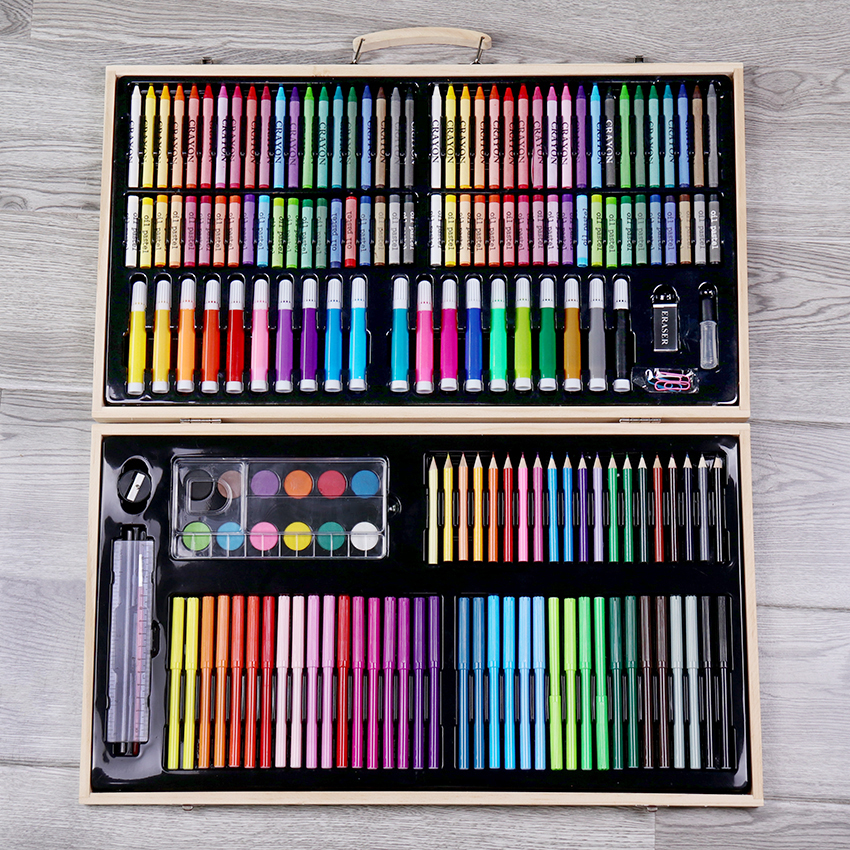 180PCS/set Children Drawing Stationery Wooden Box Watercolor Pen Set Office Painting Brush Crayons for Kids Art Gift 150 children s painting art supplies set stationery gift box paint brush color pencil drawing tools office stationary
