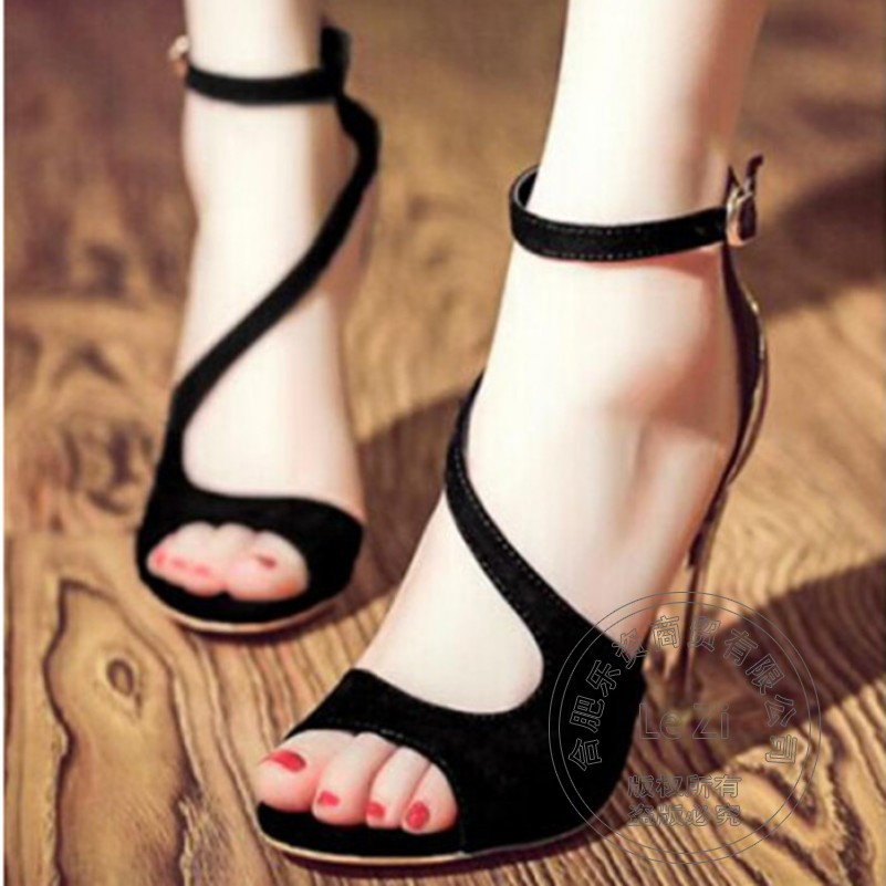 Nubuck Leather Peep Toe Wearproof Lolita Sandals Ferret Leisure 2015 Sexy Shoes font b Woman b