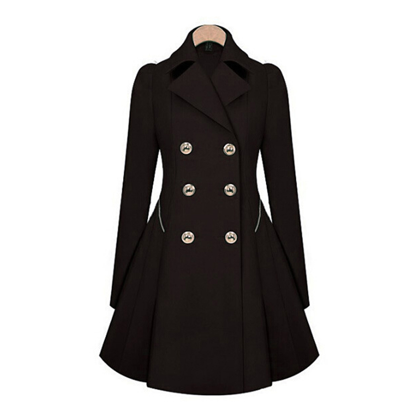 Women   Trench   Coat Spring Double Breasted Long Sleeve Ladies   Trench   Lapel Windbreaker Long Slim Autumn Coats Outerwear