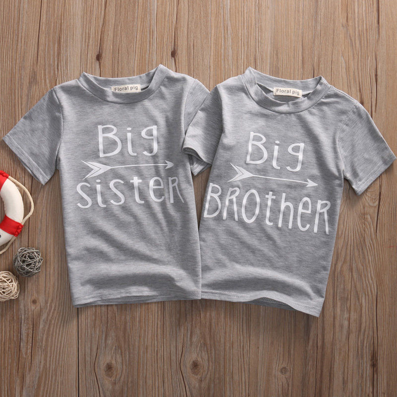 Pudcoco T-Shirts Short-Sleeve Sister Print Girls Baby Boy Kids Cotton Letter