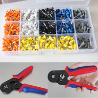 Free Shipping 0.25 6mm2 Wire Ferrule Crimp tool +Mixed 1000 Piece Wire Ferrules Kit