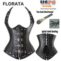 FLORATA Hot Sale Good Quality Spiral Steel Boned Gothic Buckles Underbust Corset Faux Leather Waist Cincher Shapewear
