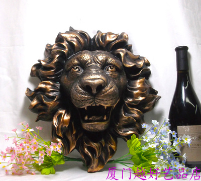 Jinqianbao decoration Animal lion head wall hanging fountain water bar European decorative resin crafts setting props dies