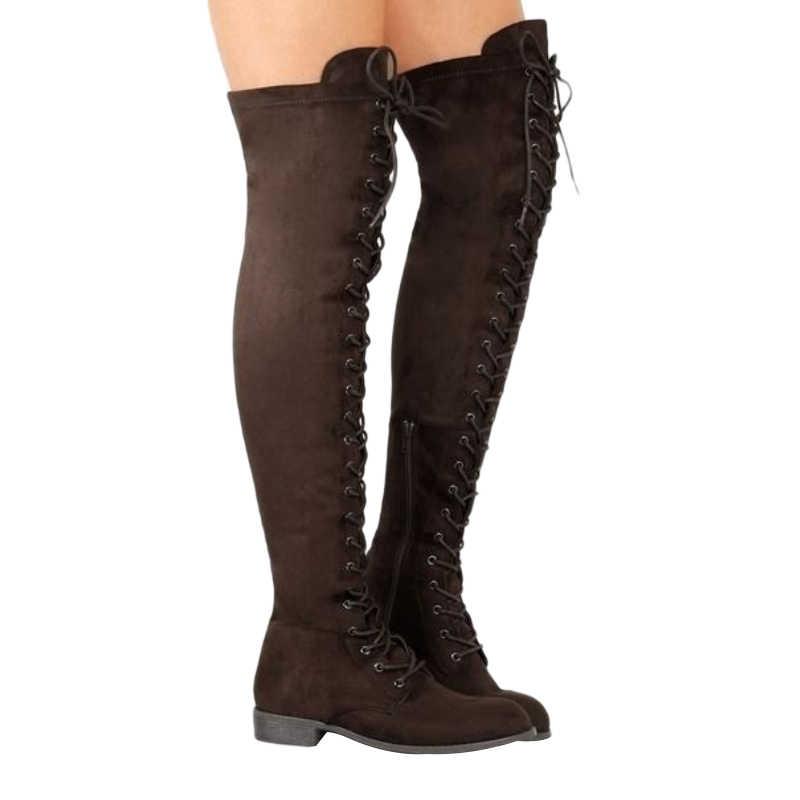 Seksi Dantel Up Diz Çizmeler Üzerinde Kadınlar roma tarzı Çizmeler Kadın Flats Ayakkabı Kadın süet uzun Çizmeler Botas Kış Uyluk yüksek Çizmeler 35-43