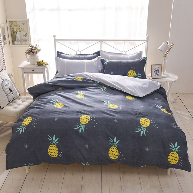 Pineapple Bedding Set Printed Fruit Cool Feel Bedsheet Soft 100% Polyester  Fiber Duvet Cover Set