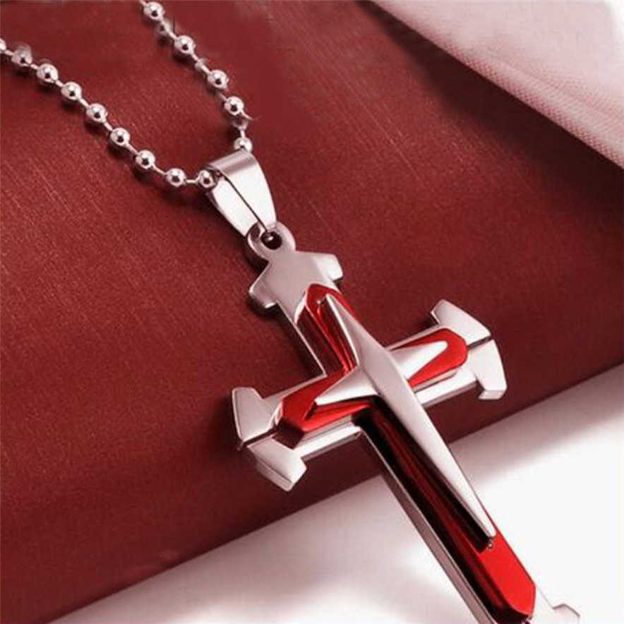 2018 new Jewelry Unisex Men Necklace red style Stainless Steel Cross Pendant Necklace Chain drop shiping #30(China)