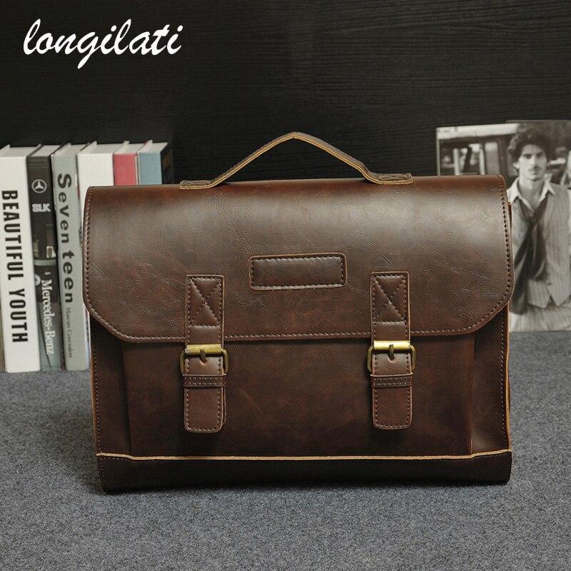 Men Business Office Bag 2017 Casual Vintage Satchels Men's Leather Laptop Handbags aktetas mannen aktentasche cartable homme sac