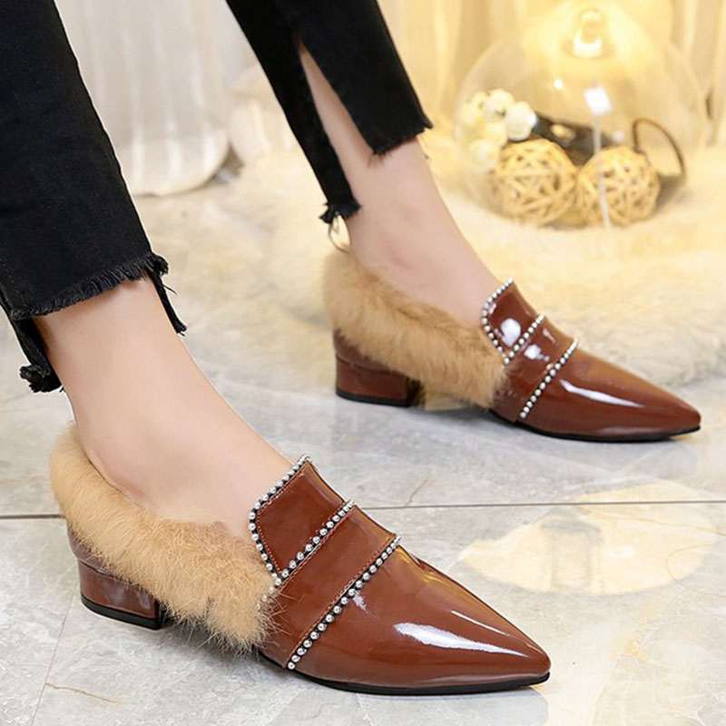 Bailehou 2018 Women Shoes Female Fur Loafers Patent Leather Ladies Shoes Winter Women Flats Woman Mules Warm Casual Shoes Lady bailehou flats casual woman slippers fashion fur women shoes slip on mules female loafers shoes outside slides ladies slippers