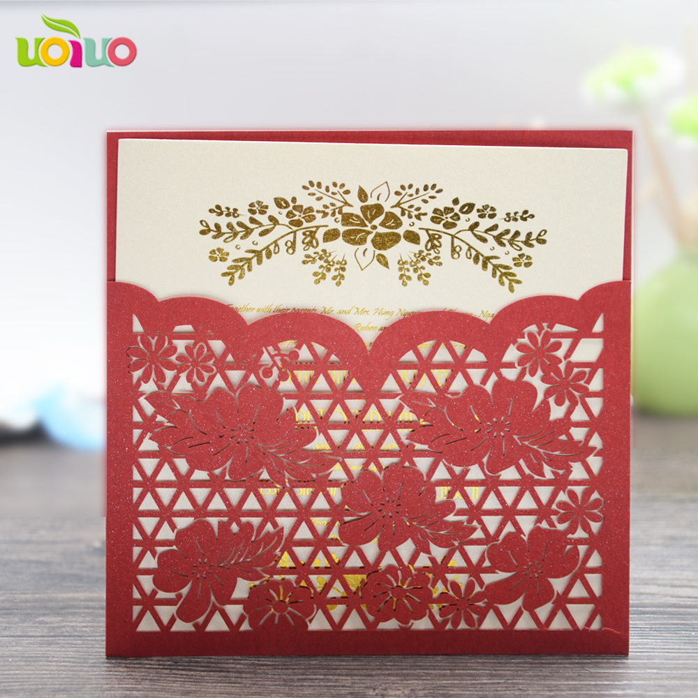 hot laser cut wedding favors english wedding invitation card chinese ...